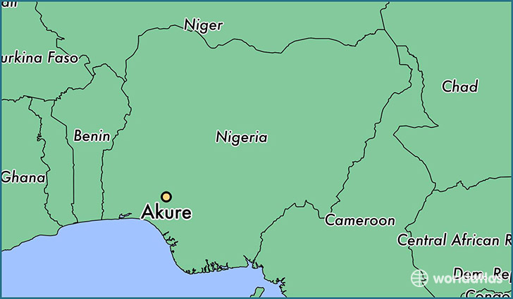 map showing the location of Akure