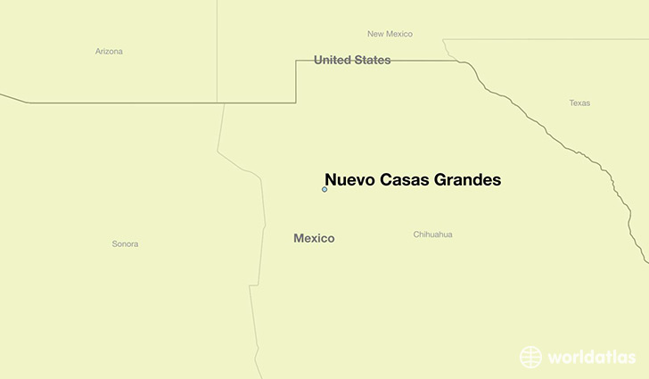 map showing the location of Nuevo Casas Grandes