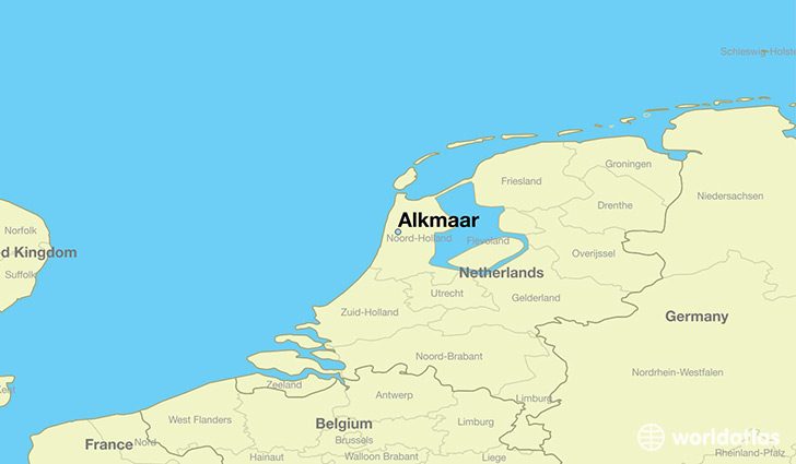 map showing the location of Alkmaar