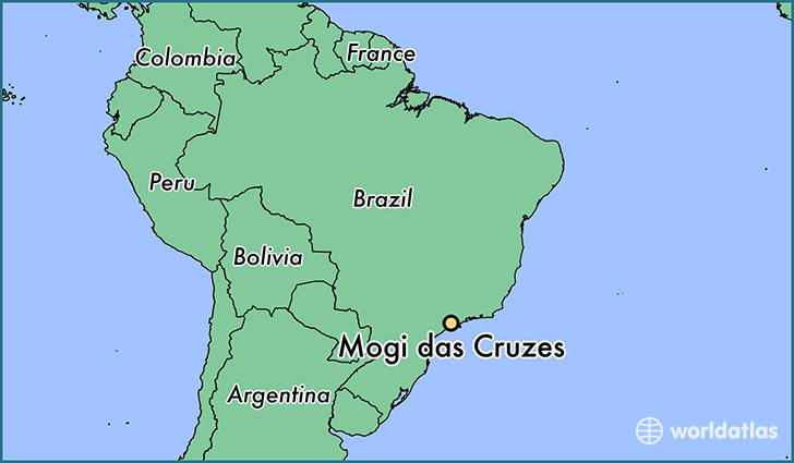 map showing the location of Mogi das Cruzes
