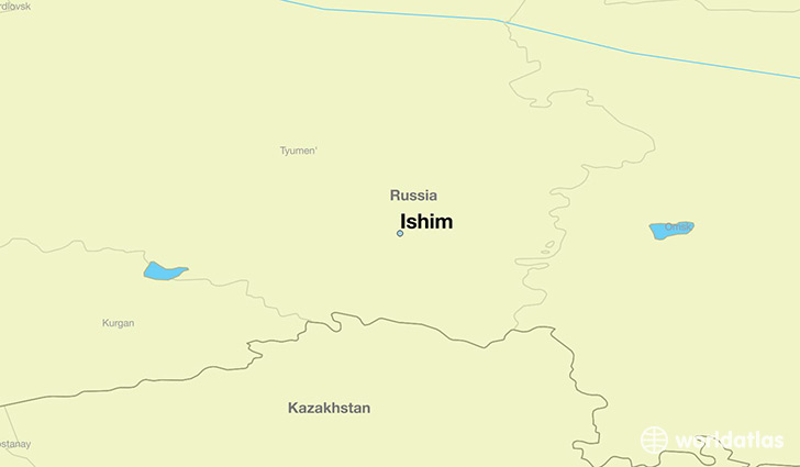 map showing the location of Ishim