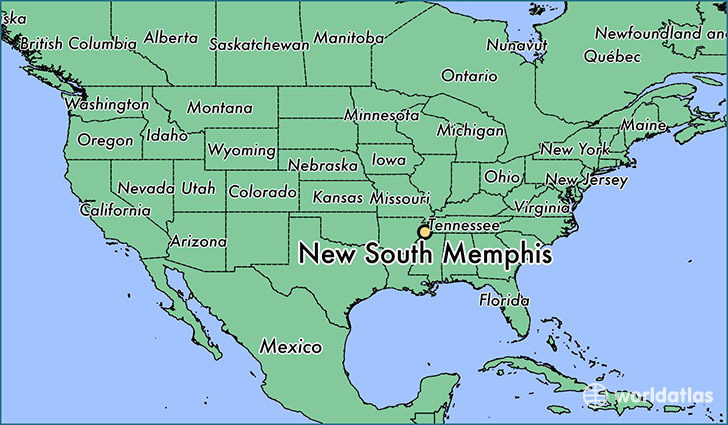 map showing the location of New South Memphis