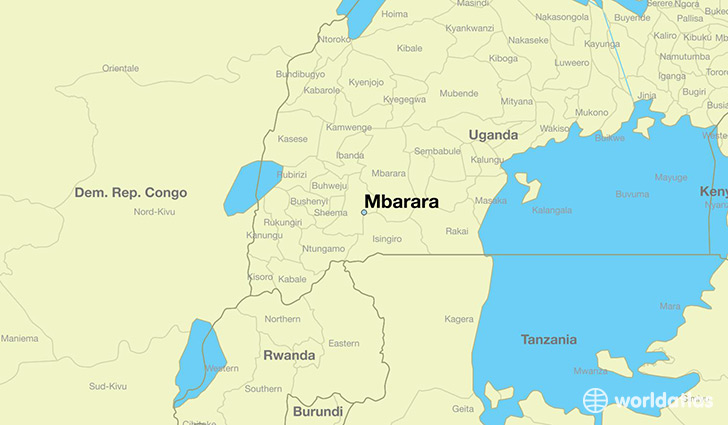 map showing the location of Mbarara