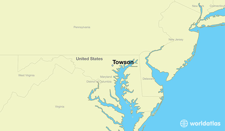 map showing the location of Towson