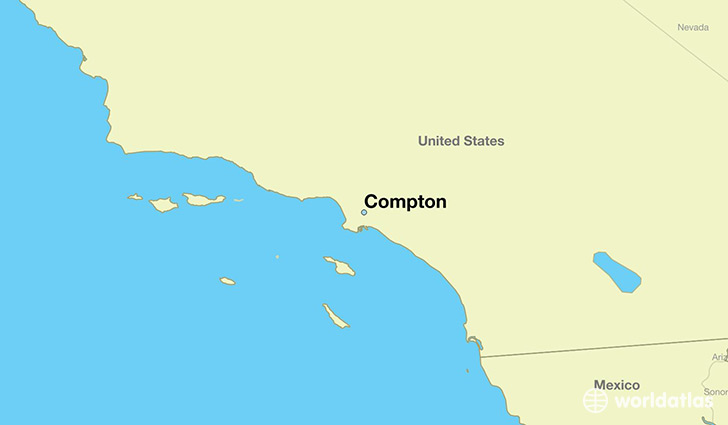 map showing the location of Compton