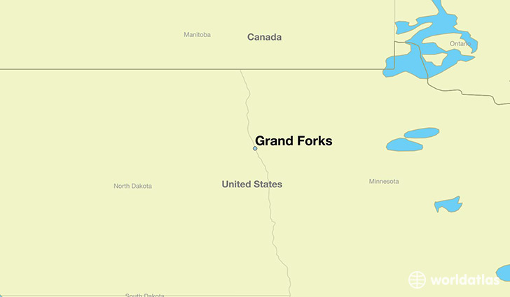 map showing the location of Grand Forks