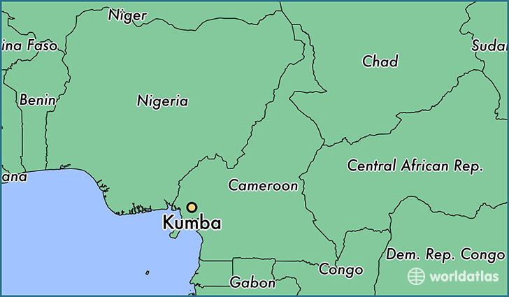map showing the location of Kumba