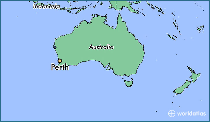 map showing the location of perth