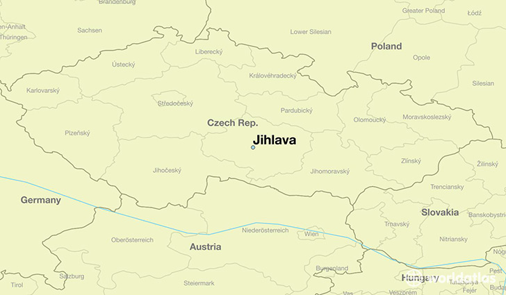 map showing the location of Jihlava