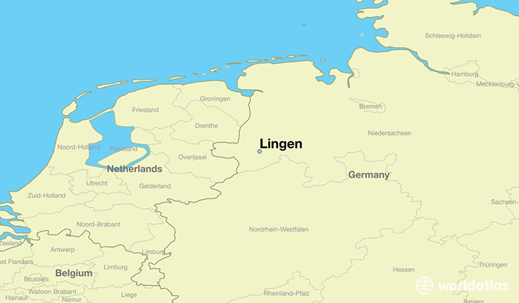 map showing the location of Lingen