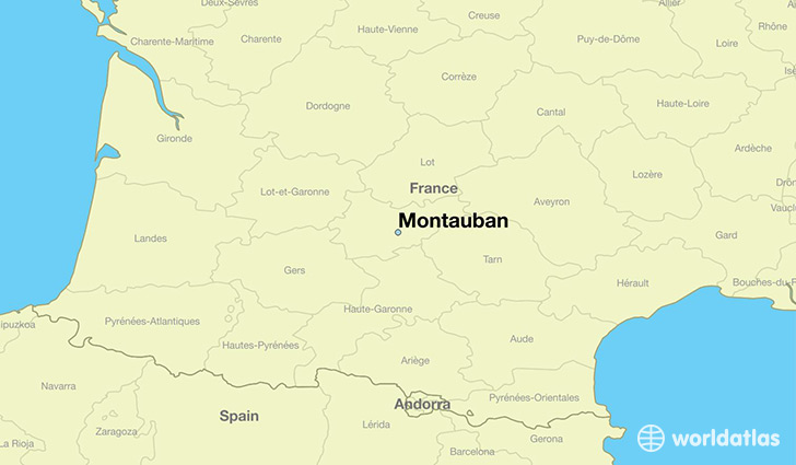 map showing the location of Montauban