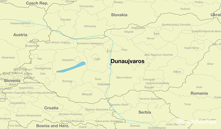 map showing the location of Dunaujvaros