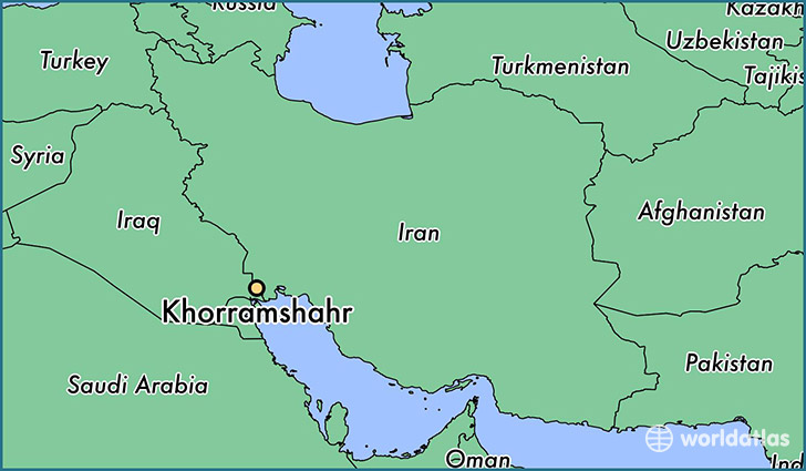 map showing the location of Khorramshahr