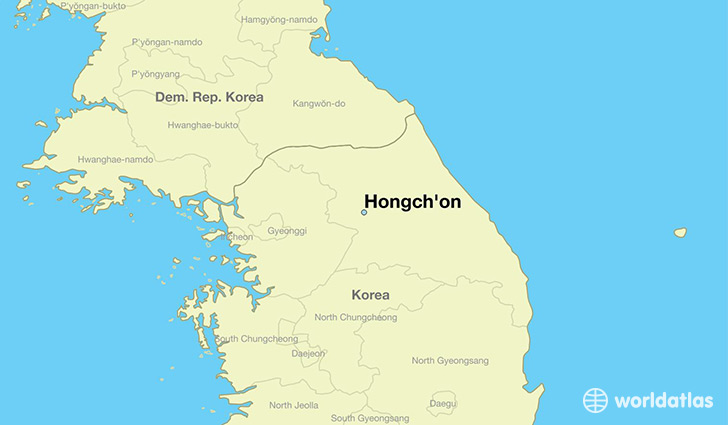 map showing the location of Hongch'on