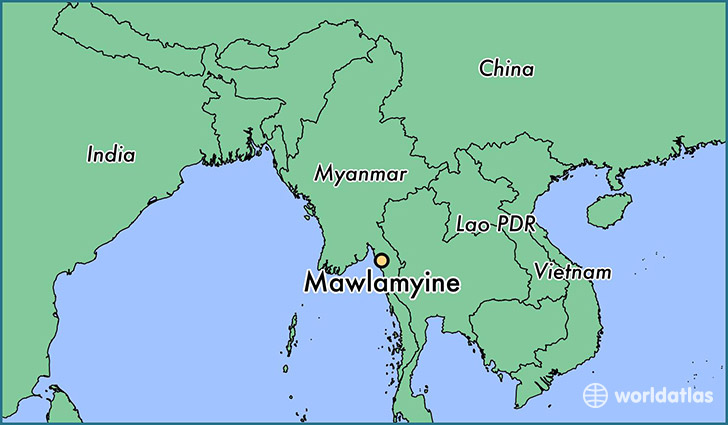 map showing the location of Mawlamyine