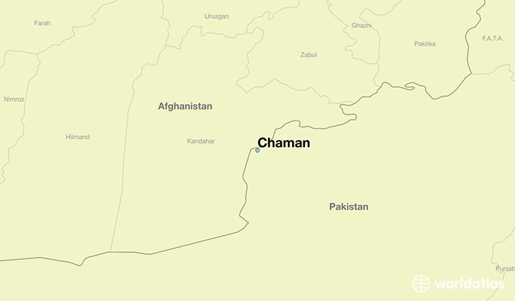 map showing the location of Chaman