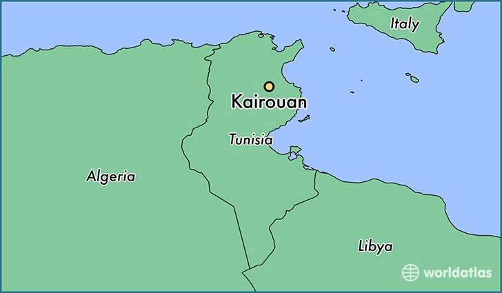 Where is Kairouan Tunisia Kairouan Al Qayrawan Map WorldAtlascom