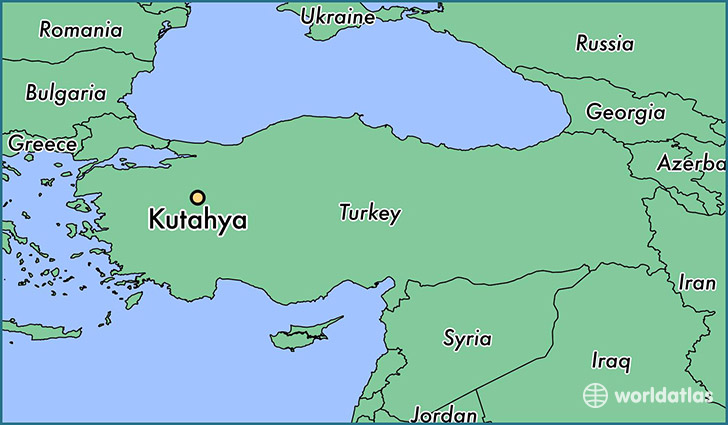 map showing the location of Kutahya