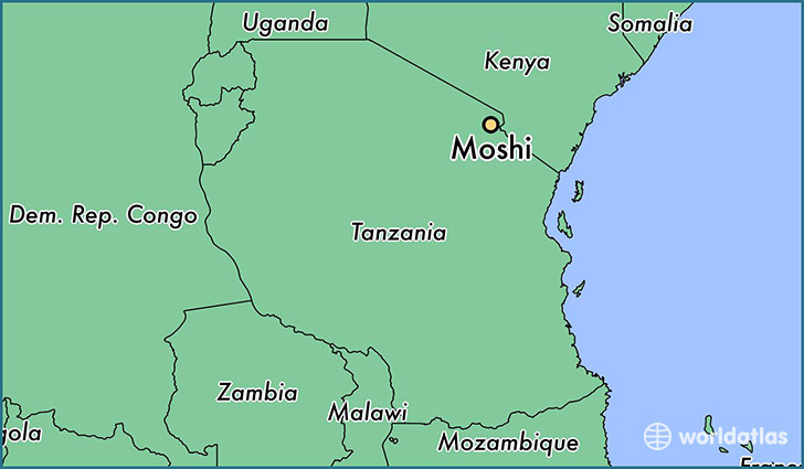 map showing the location of Moshi