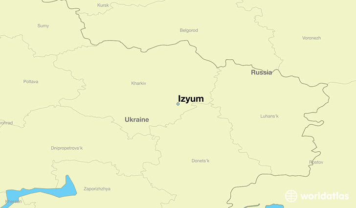 map showing the location of Izyum