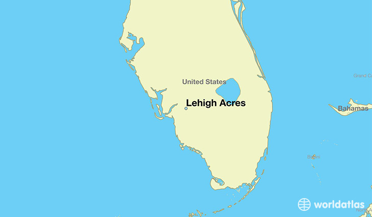 map showing the location of Lehigh Acres