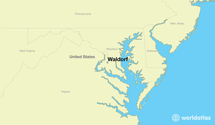 map showing the location of Waldorf
