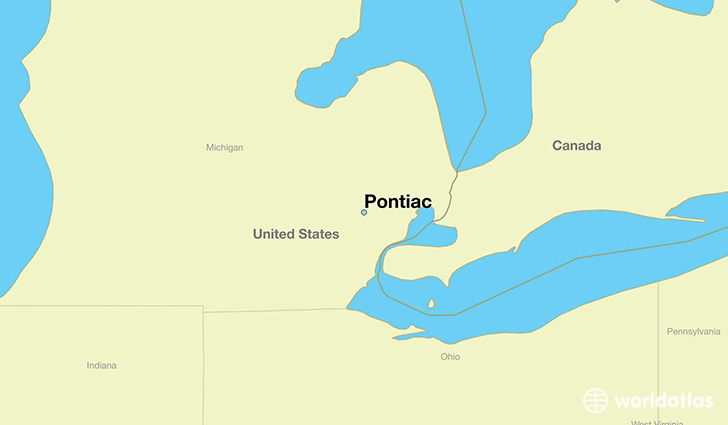map showing the location of Pontiac