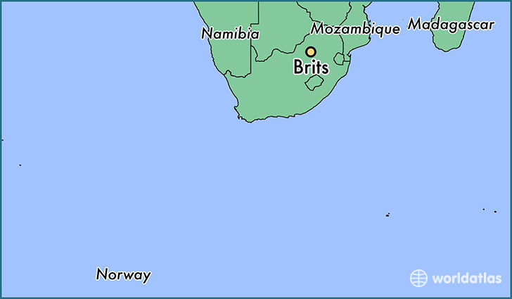 map showing the location of Brits