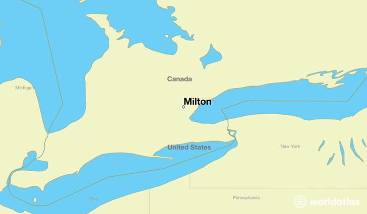map showing the location of Milton