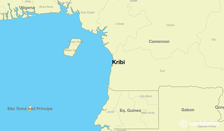 map showing the location of Kribi