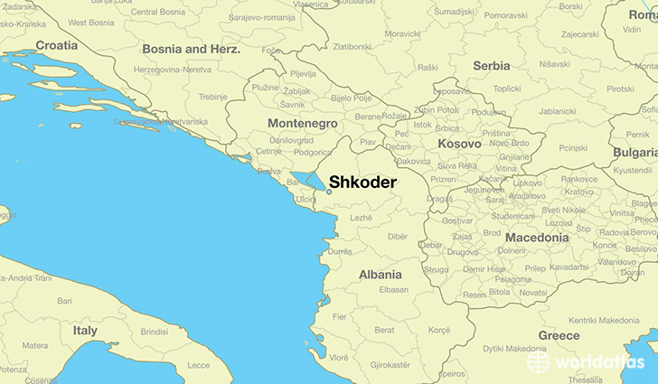 map showing the location of Shkoder