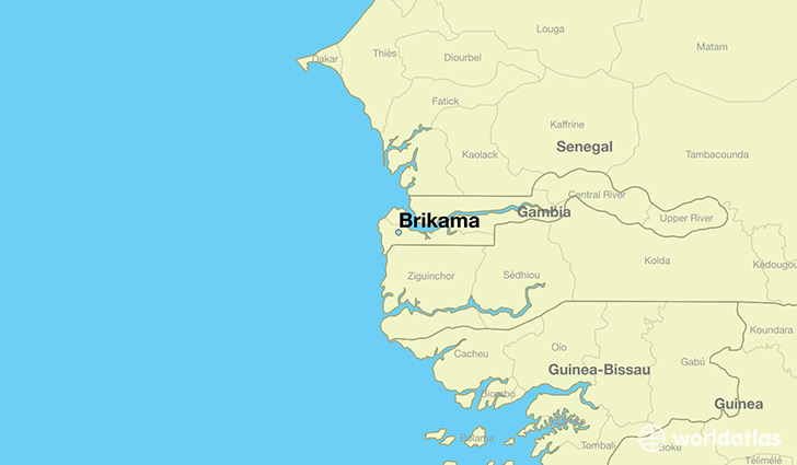 map showing the location of Brikama