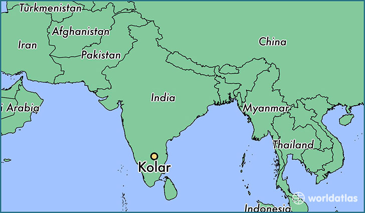 map showing the location of Kolar
