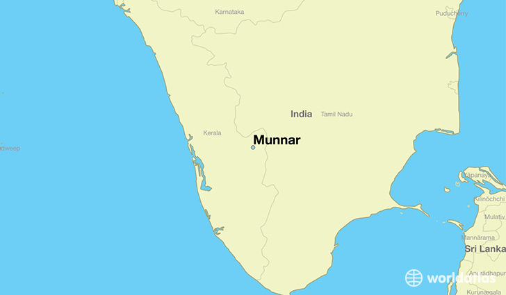 map showing the location of Munnar