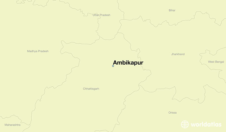 map showing the location of Ambikapur