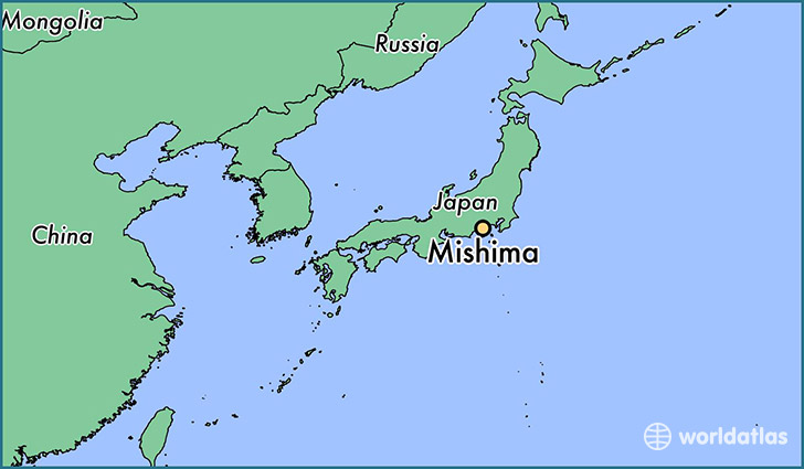 map showing the location of Mishima