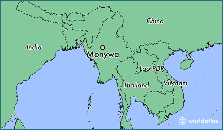 map showing the location of Monywa