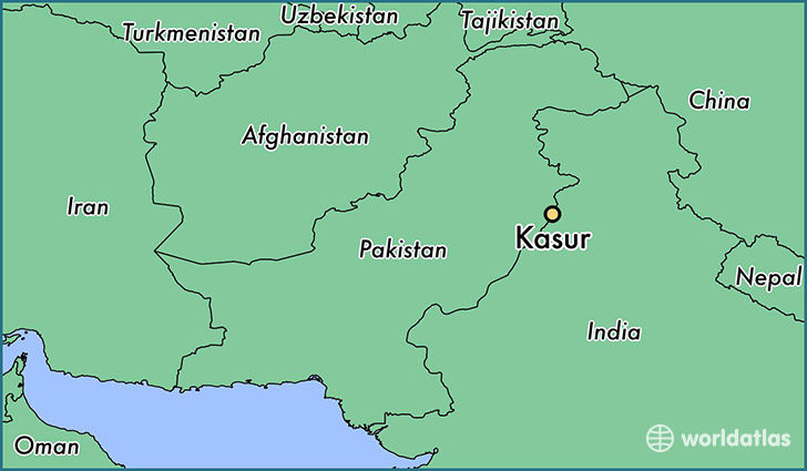 map showing the location of Kasur