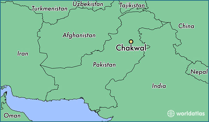 map showing the location of Chakwal