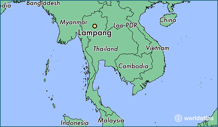 map showing the location of Lampang