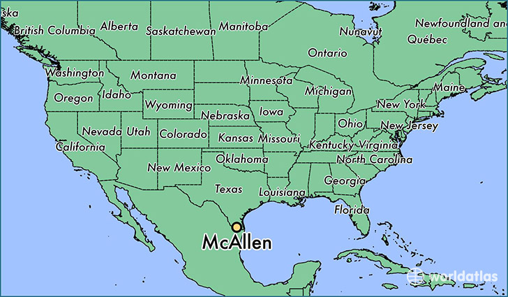 map showing the location of McAllen