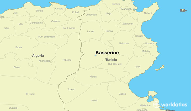 map showing the location of Kasserine