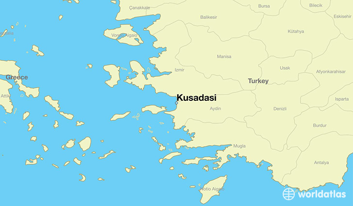 map showing the location of Kusadasi