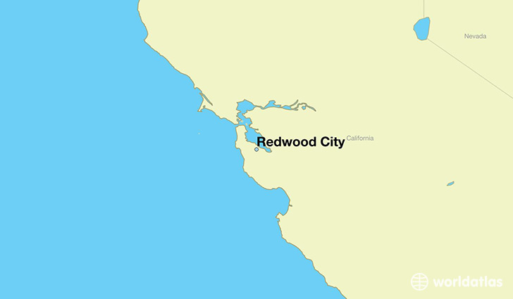 map showing the location of Redwood City