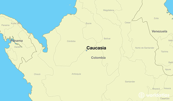 map showing the location of Caucasia
