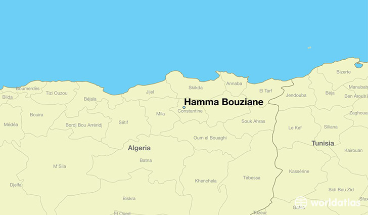 map showing the location of Hamma Bouziane