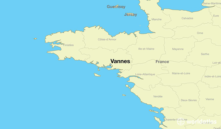 map showing the location of Vannes