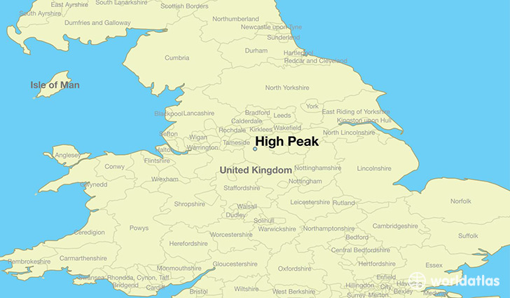 map showing the location of High Peak