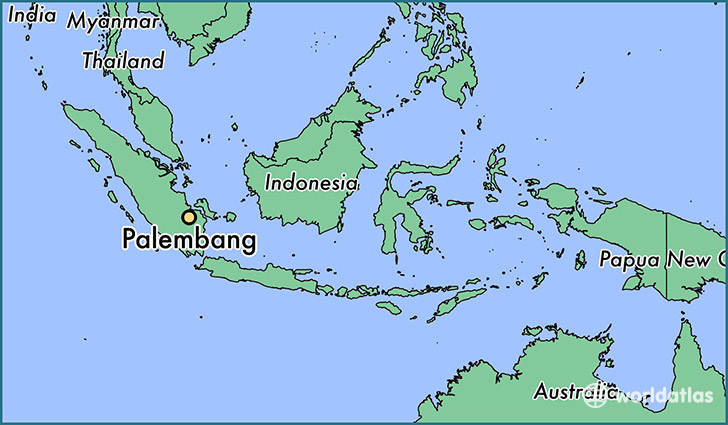 map showing the location of Palembang