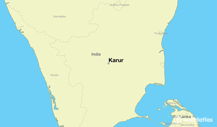 map showing the location of Karur